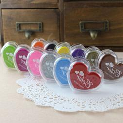 12 Color/Set Heart Rubber Stamping Pigment Ink Pads Embossin