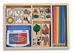 Melissa & Doug Deluxe Stamp Set - 25 Piece - Wood