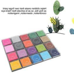 DIY 20 Colors Colorful Ink Pad Stamp Inkpad Rubber Stamp Scr