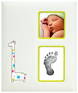 Pearhead Giraffe Baby Memory Book with an Included Clean-Tou